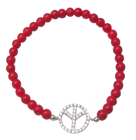 Red beaded peace bracelet - Blooms of London - Designs inspired by nature