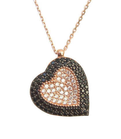 Heart shape black and gold necklace - Blooms of London - Designs inspired by nature