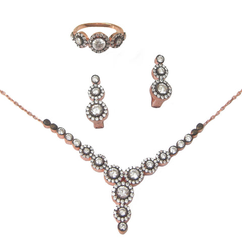 Antique rose gold round set - Blooms of London - Designs inspired by nature