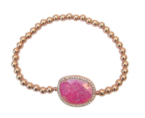 Oval candy pink semi-precious stone beaded bracelet - Blooms of London - Designs inspired by nature