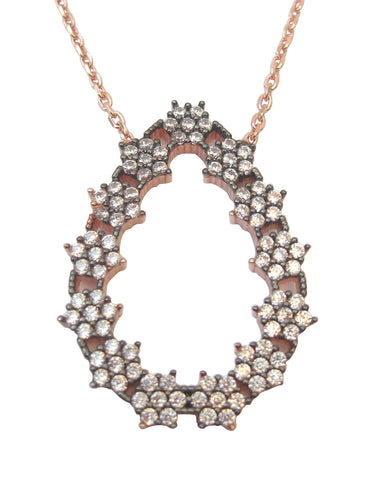 Oval shape 18 ct rose gold pendant with white crystals - Blooms of London - Designs inspired by nature