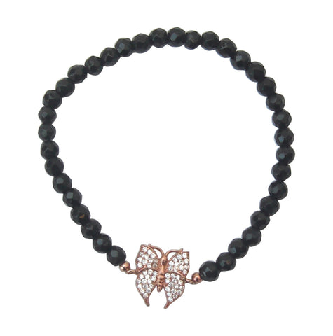 Faceted black onyx beaded bracelet with rose gold vermeil butterfly - Blooms of London - Designs inspired by nature