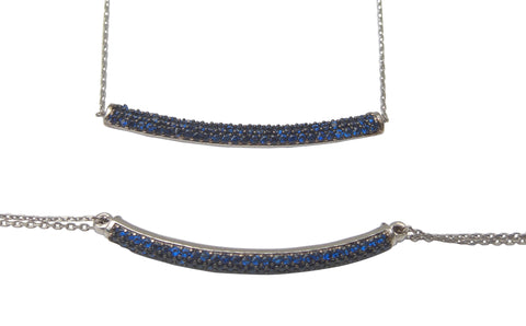 Sterling silver blue crystal encrusted set, necklace and bracelet - Blooms of London - Designs inspired by nature