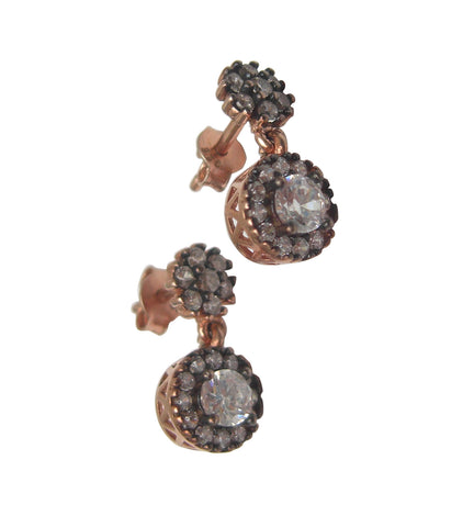 Round diamond shape rose gold vermeil earrings - Blooms of London - Designs inspired by nature