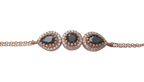 Rose gold plated bracelet with black charms - Blooms of London - Designs inspired by nature