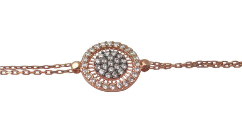 Pave disc rose gold plated bracelet with white crystals - Blooms of London - Designs inspired by nature