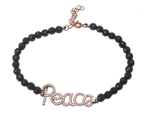 Faceted black onyx beaded bracelet with peace - Blooms of London - Designs inspired by nature