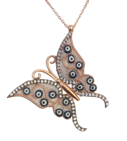 Butterfly necklace with lucky eye symbols - Blooms of London - Designs inspired by nature