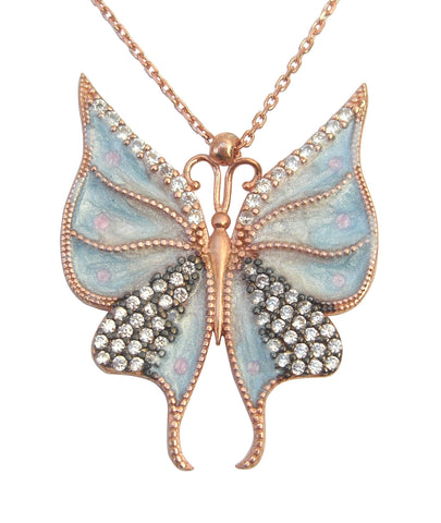 Light blue enamel butterfly necklace - Blooms of London - Designs inspired by nature