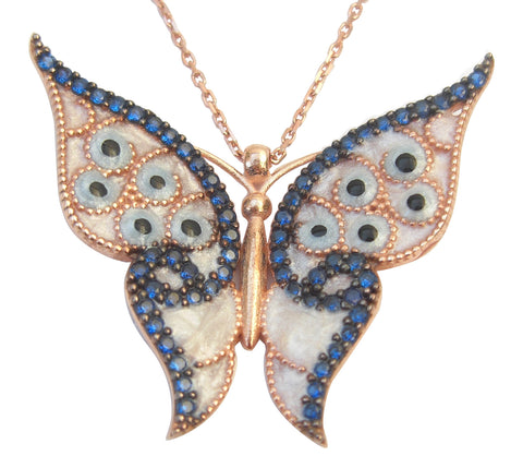 Dark blue enamel butterfly necklace - Blooms of London - Designs inspired by nature