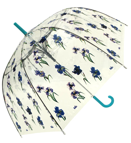Iris Flower Print Blue Transparent Umbrella - Blooms of London - Designs inspired by nature