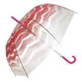 Coral Gradient Chevron Transparent Umbrella - Blooms of London - Designs inspired by nature