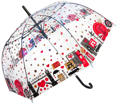 London in Bloom Transparent Straight Umbrella - Blooms of London - Designs inspired by nature