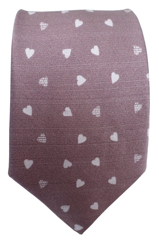 Hearts Print Mauve Silk Tie - Blooms of London - Designs inspired by nature