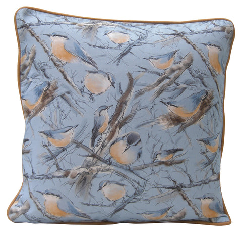 Nuthatch Design Cushion - Blooms of London - Designs inspired by nature