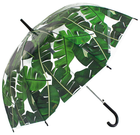 Green Palm Leaf Scarce Transparent Umbrella - Blooms of London - Designs inspired by nature