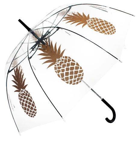 Gold Pineapple Transparent Umbrella - Blooms of London - Designs inspired by nature