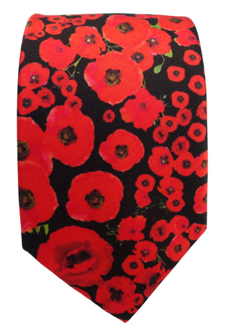 Armistice, remembrance, centenary Poppy Silk Tie - Blooms of London - Designs inspired by nature