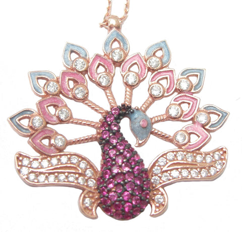 Pink peacock necklace - Blooms of London - Designs inspired by nature