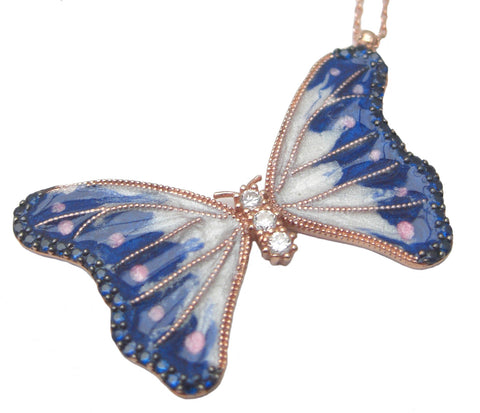 Rose gold blue enamel butterfly necklace - Blooms of London - Designs inspired by nature