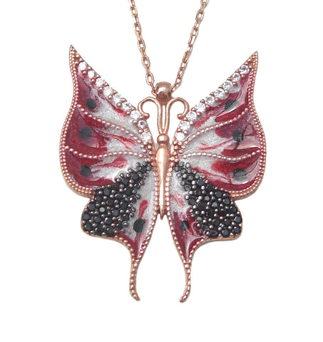 Red butterfly necklace - Blooms of London - Designs inspired by nature