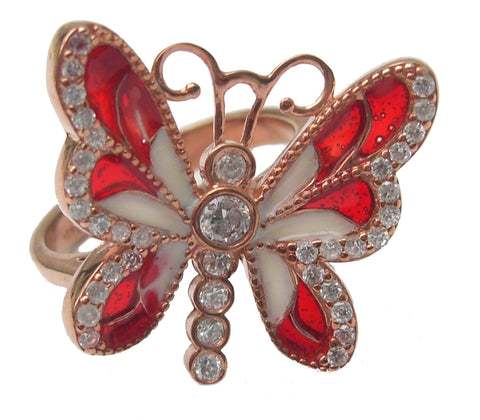 Butterfly enamel rose gold vermeil ring - Blooms of London - Designs inspired by nature