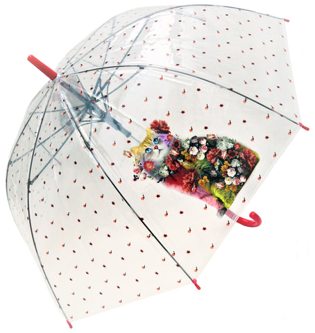Bucolic Cat Transparent Umbrella