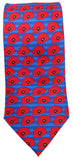 Striped blue Poppy Tie - Blooms of London - Designs inspired by nature