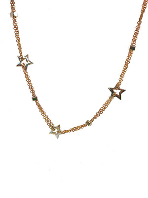18kt Yellow Gold Star Double Chain necklace