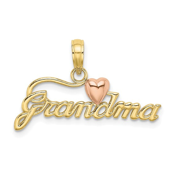 10kt Two-tone GRANDMA with Heart Charm
