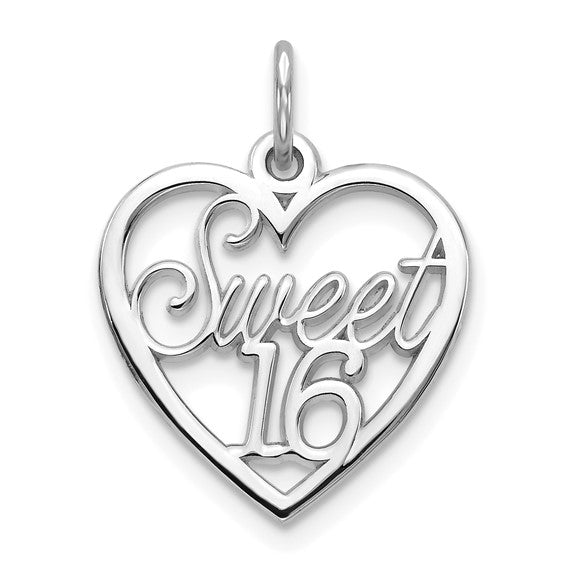 10kt White Gold SWEET 16 In Heart Charm