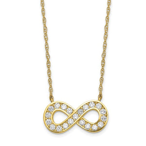 10kt Yellow Gold and Cubic Zirconia Infinity Symbol Necklace