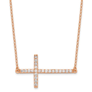Sterling Silver Rose-tone Cubic Zirconia Sideways Cross Necklace