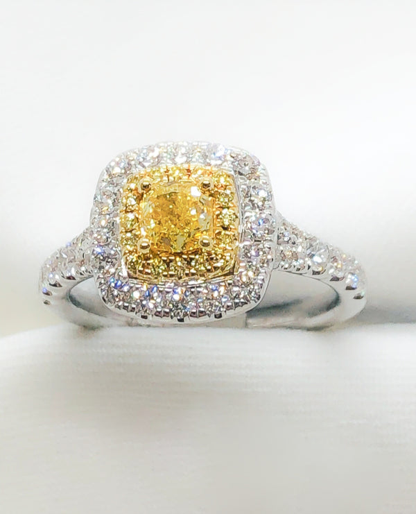 18kt White Gold with Yellow & White Diamond Ring 1.19 ct./tw.