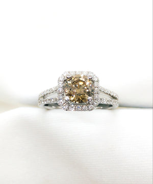 14kt White Gold with Champagne Diamond Engagement Ring 1.45 ct./tw.