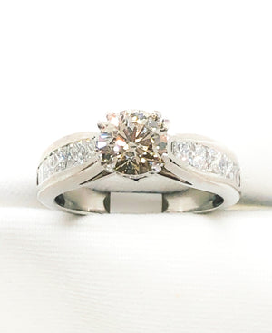 Platinum Champaign Diamond engagement ring