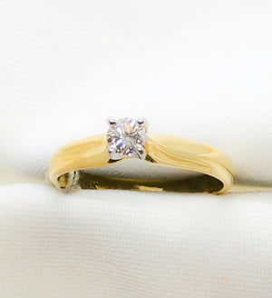 14kt yellow gold 4 prong diamond engagement ring