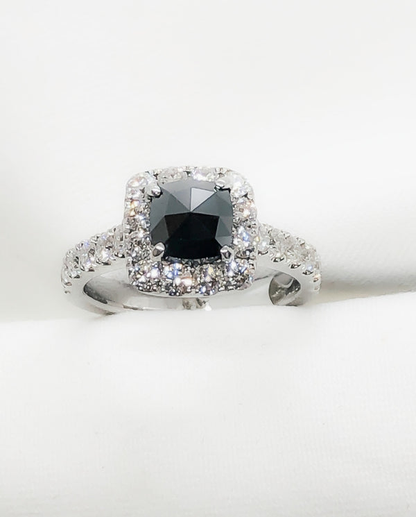 14kt white gold, white and black diamond ring