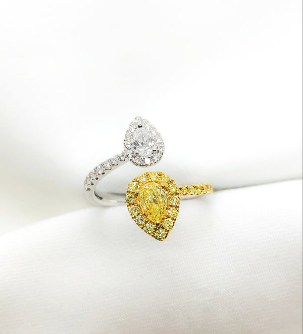 18kt two tone, white and yellow diamond pear shape ring