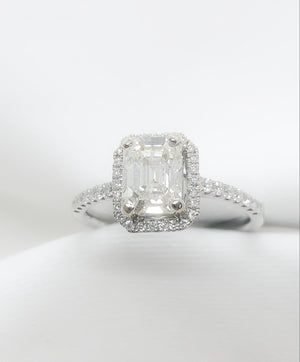18kt White Gold Emerald Cut Engagement Ring 1.47 ct.