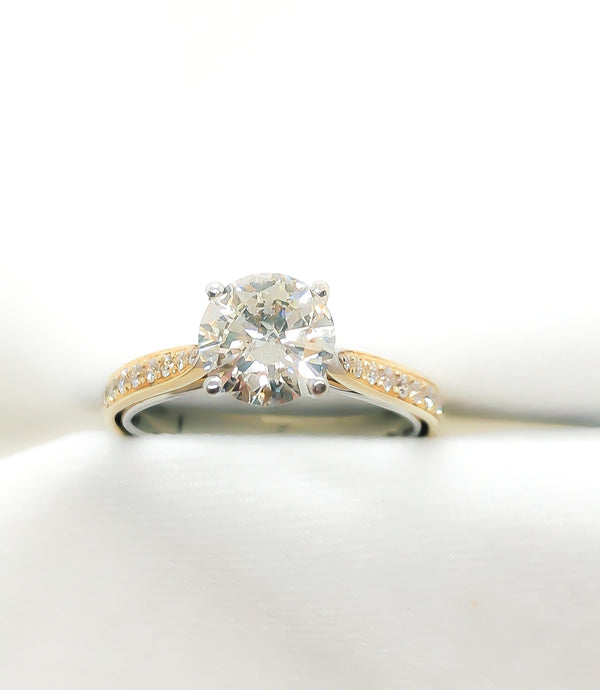 18kt Two Toned Gold Engagement Ring 1.40 ct.