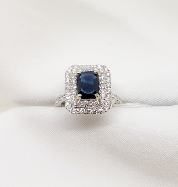 14kt White Gold Diamond and Blue Sapphire Ring