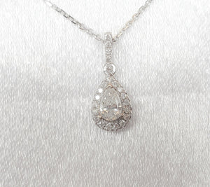 18kt. Pear Diamond Halo Pendant