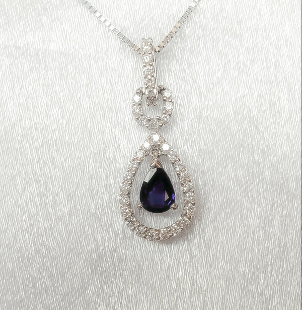 18kt. Blue Sapphire/ Diamond Dangle Pendant