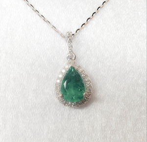 18kt. Diamond/Emerald Halo Pendant