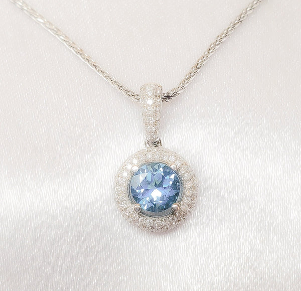 18kt. Blue Topaz / Diamond Pendant
