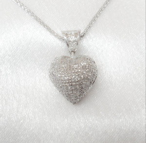 14kt. Diamond Puffed Heart Pendant