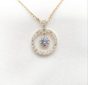 10K Yellow Gold CZ Dangle Pendant