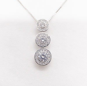 10K Tiara Collection White Gold CZ Pendant