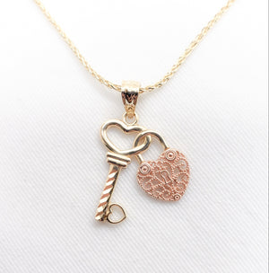 14kt. Two Tone Rose/Yellow Gold Heart Lock Key Charm